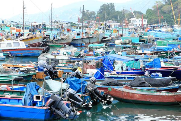 Wiele ryb łodzi dok wody ocean Zdjęcia stock © cozyta