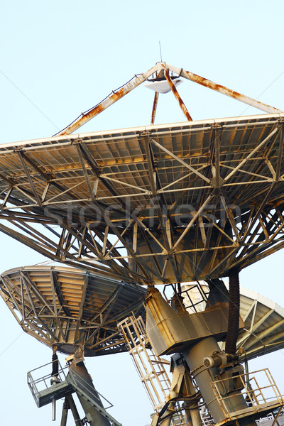 Satellite Communications Dishes on top of TV Station Stock photo © cozyta
