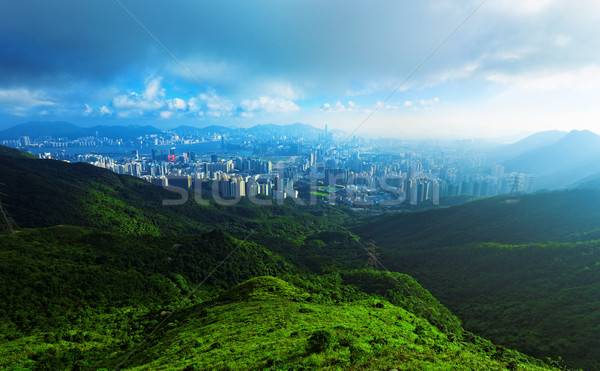 Sunset In A District Of Hong Kong  Stock photo © cozyta