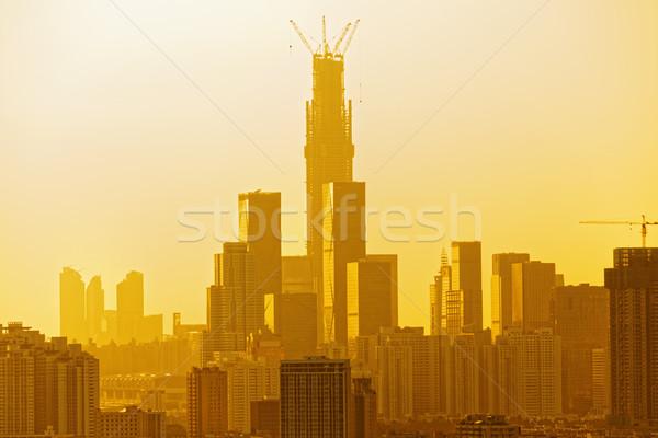 chinese city at sunset Stock photo © cozyta