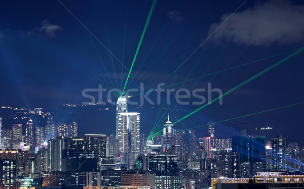 Beautiful laser night show scenery of Hong Kong Victoria Harbor Stock photo © cozyta