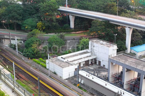 Trein rail stad hemel kantoor gebouwen Stockfoto © cozyta