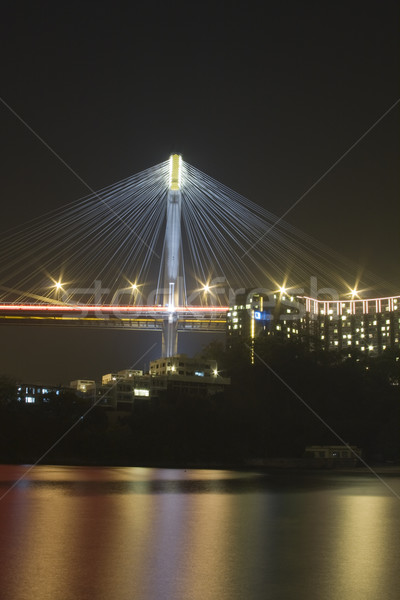 Mooie nacht brug Hong Kong hemel water Stockfoto © cozyta
