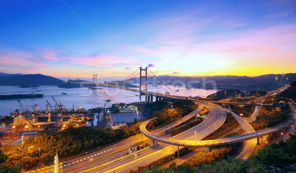 Sunset at Tsing Ma Bridge  Stock photo © cozyta