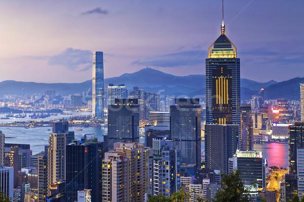 Stok fotoğraf: Hong · Kong · şehir · gün · batımı · iş · ofis · inşaat