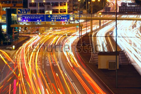 Forgalom Hongkong éjszaka város autók kék Stock fotó © cozyta