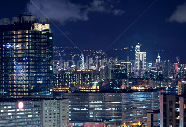 Hong Kong downtown at night Stock photo © cozyta