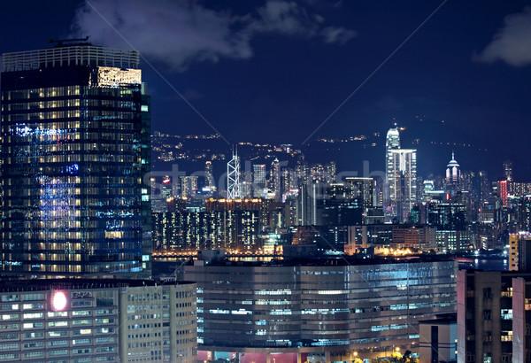 Hongkong Innenstadt Nacht Büro Gebäude Stadt Stock foto © cozyta
