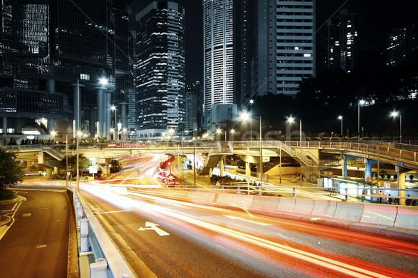 Moderna ciudad tráfico noche negocios luz Foto stock © cozyta
