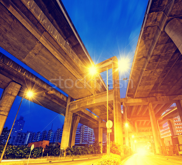 City Road overpass at night with lights  Stock photo © cozyta