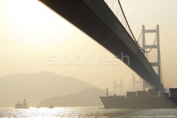 bridge at sunset moment, Tsing ma bridge  Stock photo © cozyta