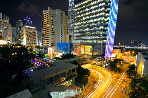 Moderna nocturna de la ciudad coche carretera edificio paisaje Foto stock © cozyta