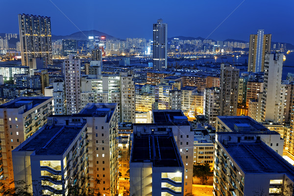 Hong Kong City Night Residential building area Stock photo © cozyta