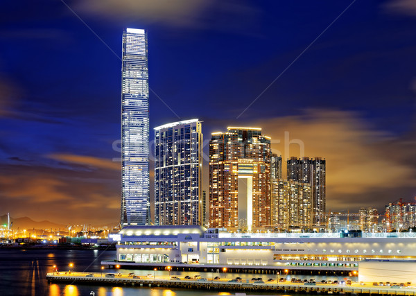 Kowloon office buildings at night Stock photo © cozyta