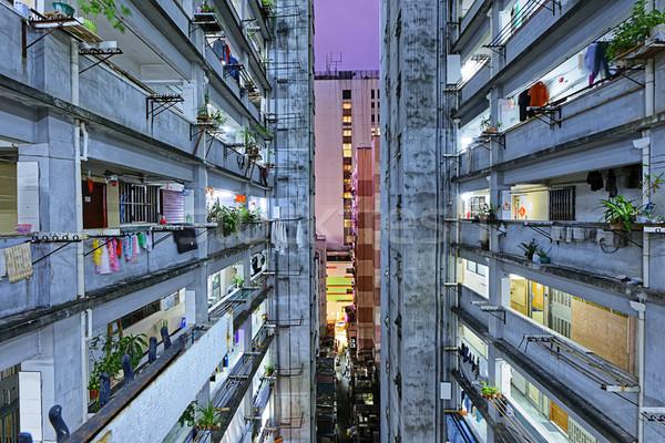 Гонконг трущобы центра здании стены закат Сток-фото © cozyta