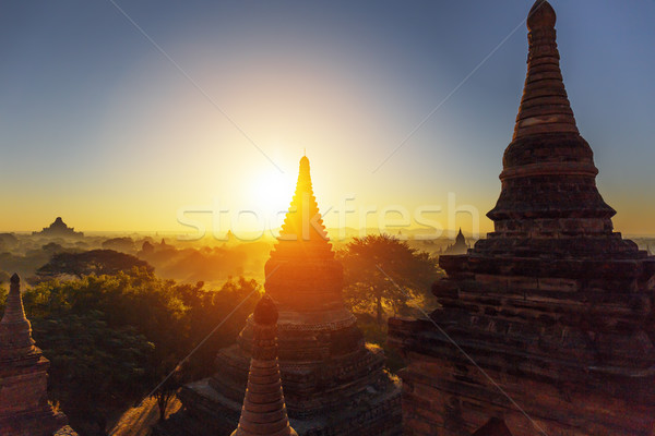 Bagan temple during golden hour  Stock photo © cozyta