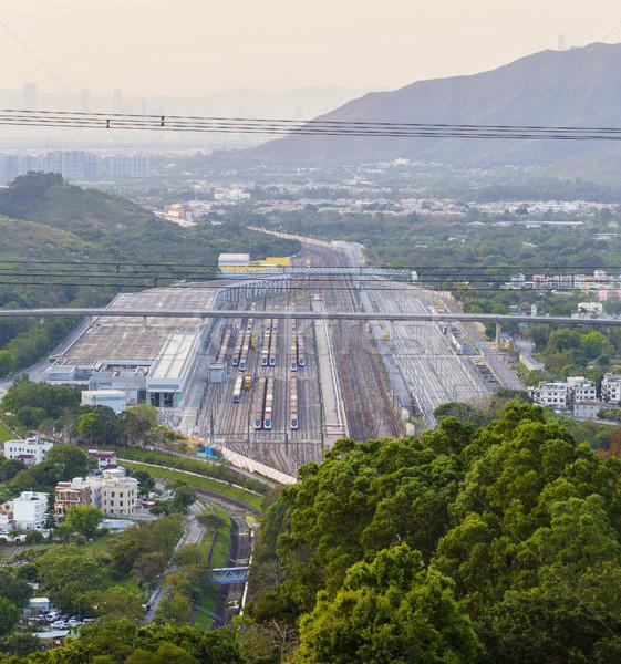 Vasútállomás égbolt technológia háttér fém ipar Stock fotó © cozyta