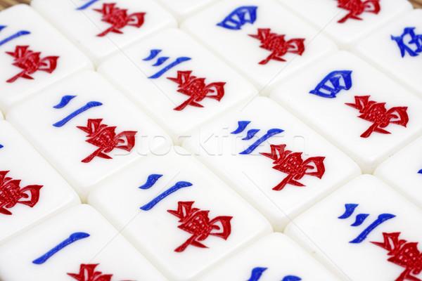 Foto stock: Mahjong · cuadros · casa · grupo · rojo · bambú