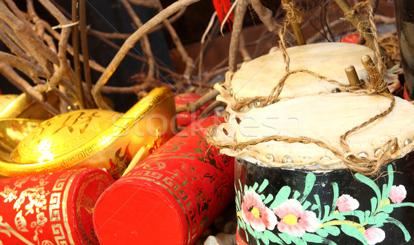 Firecrackers and a Chinese Traditional Wooden Drum  Stock photo © cozyta