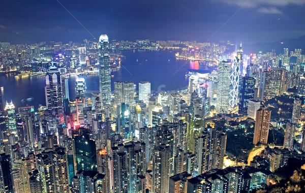 éjszaka modern épületek üzlet égbolt iroda Stock fotó © cozyta