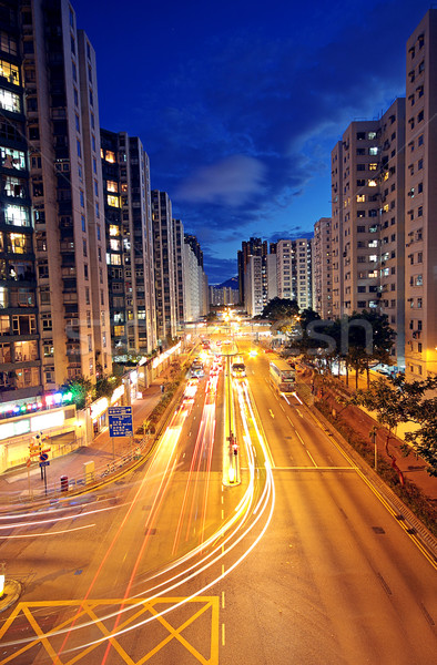 Modern Urban City with Freeway Traffic at Night, hong kong Stock photo © cozyta