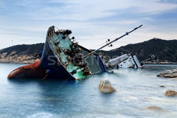 Naufrágio Hong Kong marinha pôr do sol água madeira Foto stock © cozyta