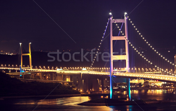 Beautiful night scenes of Tsing Ma Bridge in Hong Kong.  Stock photo © cozyta