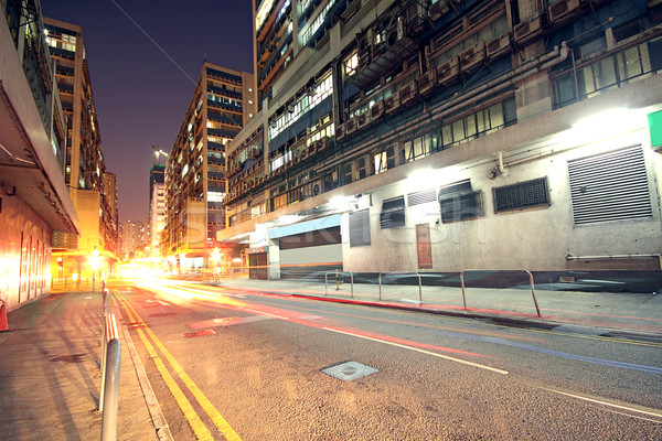 Modern Urban City with Freeway Traffic at Night, hong kong  Stock photo © cozyta