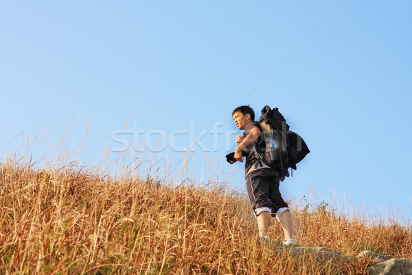 Sport hiking in mountains, walking and backpacking  Stock photo © cozyta
