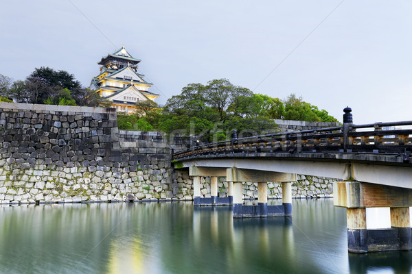Осака замок Япония дерево здании пейзаж Сток-фото © cozyta