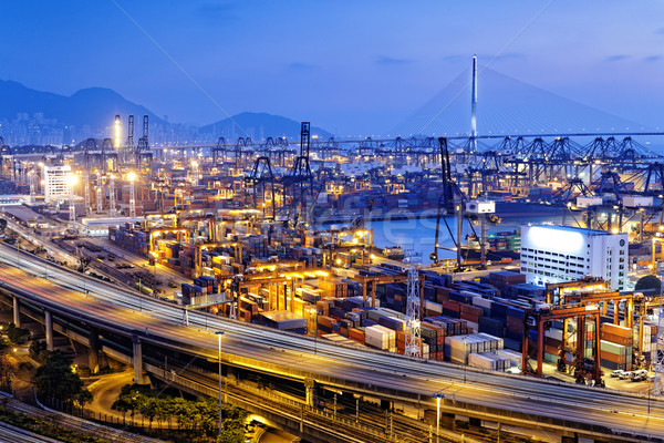 Сток-фото: контейнера · моста · Гонконг · закат · небе · дороги