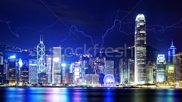 Stock photo: Storm in the Hong Kong night