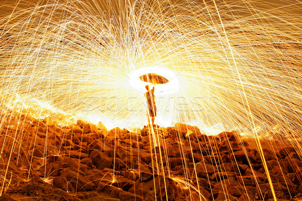 Burning steel wool fireworks  Stock photo © cozyta