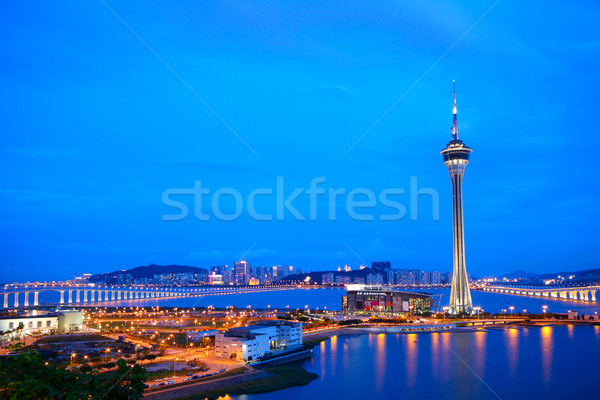 Cityscape in night with famous travel tower near river in Macao, Stock photo © cozyta