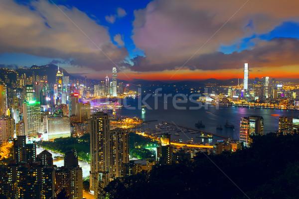 Edificio per uffici tramonto Hong Kong ufficio albero costruzione Foto d'archivio © cozyta