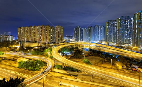 city overpass at night, HongKong Stock photo © cozyta