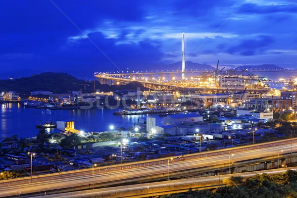 Гонконг Запад коридор шоссе моста ночь Сток-фото © cozyta