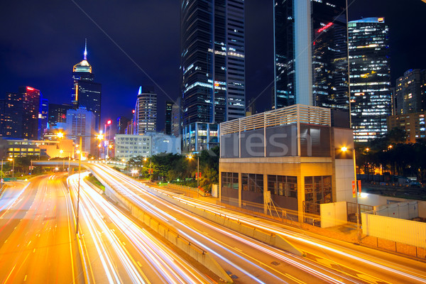 Verkeer City Night business auto weg gebouw Stockfoto © cozyta
