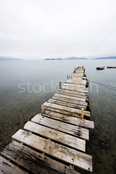 Looking over a desolate peer and a boat