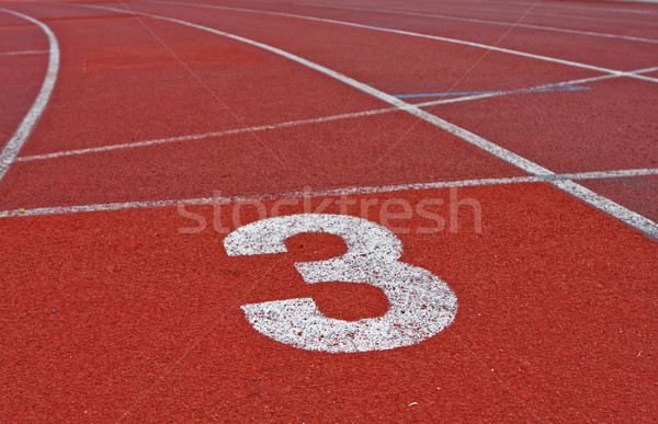 Running track numbers one two three in stadium  Stock photo © cozyta