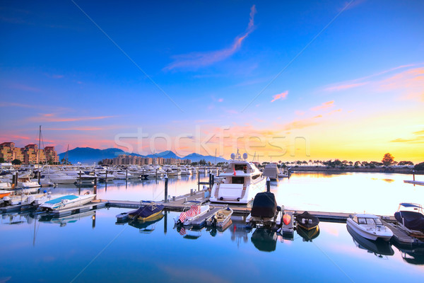 yachts in the golden coast sunset ,in hongkong  Stock photo © cozyta
