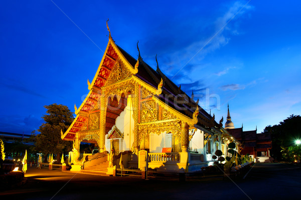Wat Phra Singh temple at sunset in Chiang Mai, Thailand.  Stock photo © cozyta