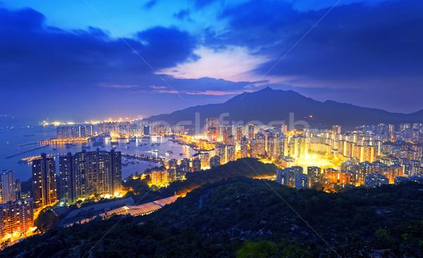 Hong Kong skyline meridionale Cina mare notte Foto d'archivio © cozyta