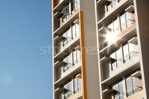 Stockfoto: Nieuwe · gebouw · blauwe · hemel · stad · bouw