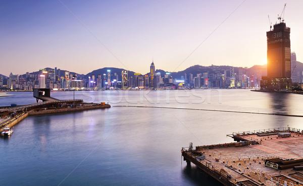 Stok fotoğraf: Hong · Kong · konteyner · liman · gün · batımı · şehir · köprü
