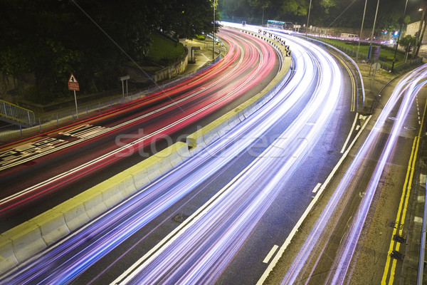 Stok fotoğraf: Modern · kentsel · şehir · otoban · trafik · gece