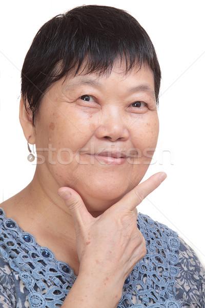 Asia kobieta strony skorygowania podpisania Zdjęcia stock © cozyta