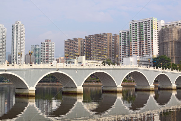 Stock photo: Arch bridge in asia downtown area, hong kong