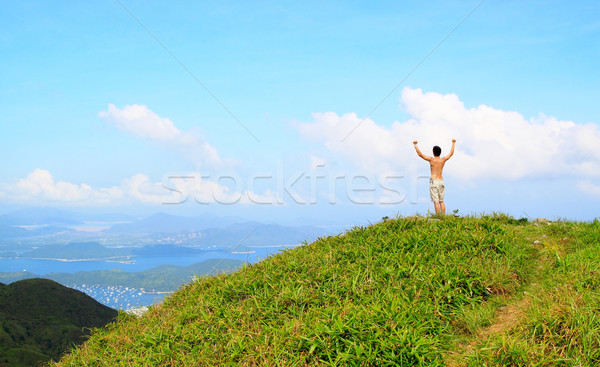 Beautiful mountains landscape with lake in hongkong and man on t Stock photo © cozyta
