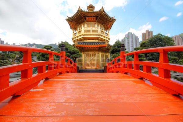 Perfezione giardino Hong Kong città arancione blu Foto d'archivio © cozyta